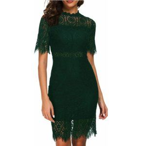 Forest Green Lace Midi Sheath Dress Cocktail Party